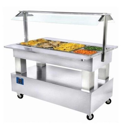 Diamond Bain Marie Buffet | heated | 4 x 1/1 GN | white Wood