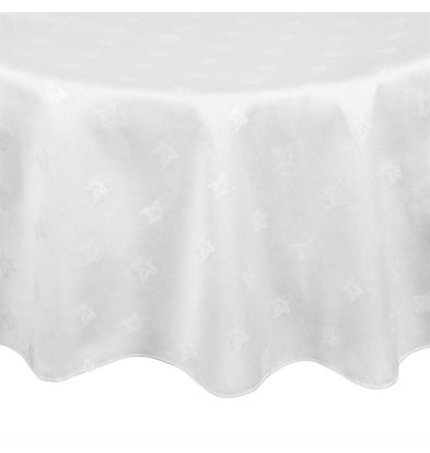 Mitre Luxury Round Tablecloth White 100% Cotton Available in 2 sizes