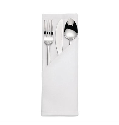 Mitre Luxury Cutlery pouches Satin Band | White 55x55cm | Per 10 pieces