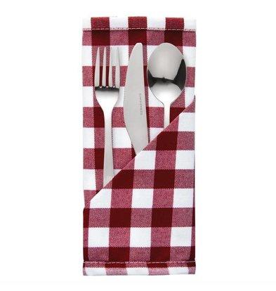 Mitre Comfort Besteckbeutel / Servietten Gingham | Rot-Weiß | 41x41cm | Pro 10 Stück