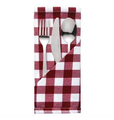 Mitre Comfort Cutlery pouches / Napkins Gingham | Red-White | 41x41cm | Per 10 pieces