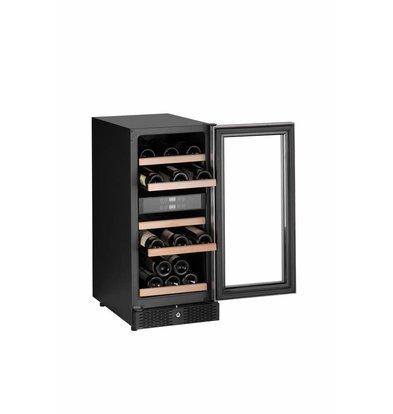 Combisteel Wijnkoelkast Zwart | 27-32 Flessen | 88 Liter | met LED Verlichting | 380x655x(H)860mm
