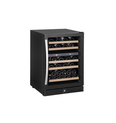 Combisteel Wijnkoelkast Zwart | 51-52 Flessen | 165 Liter | met LED Verlichting | 595x655x(H)860mm