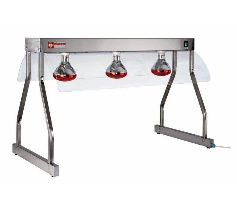 Diamond Trancheerplaat   3 x 250W Lampe   1050 mm   0,75 kW   3 x 1 / 1GN