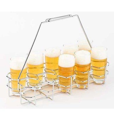 APS FSE Bierblad / Bierrack | Voor 10 Glazen | Metaal Verchroomd | 40x16,5x(H)29cm