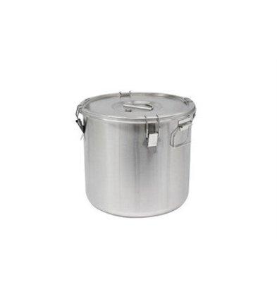 Thermosteel Thermostal Suppenbehälter | 25 Liter Seitliche Griffe Doppelwandiger Edelstahl AISI 304 | Stapelbar Ø36cm x (h) 35cm