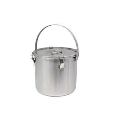 Thermosteel Thermostal Suppenbehälter | 25 Liter Mit Klammer | Doppelwandiger Edelstahl AISI 304 | Stapelbar Ø36cm x (h) 35cm