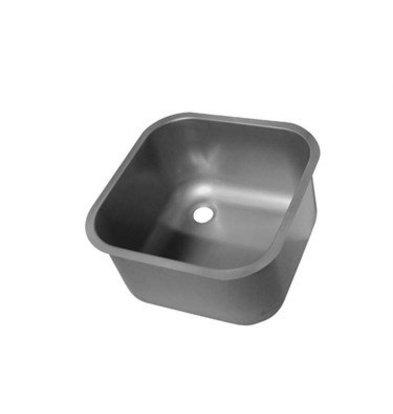 XXLselect Linum Abfallwanne 400x400x200mm | Ohne Überlauf Edelstahl AISI 316