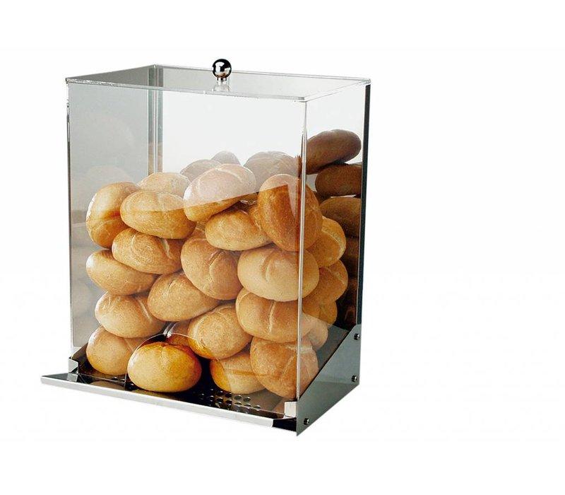 APS FSE Broodjes Dispenser | RVS/Acryl | Met Kruimellade | Voor 40-50 Broodjes | 32,5x27,5x(H)42cm