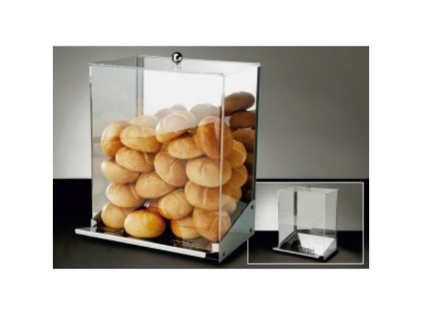 APS FSE Broodjes Dispenser | RVS\Acryl | Met Kruimellade | Voor 65-70 Broodjes | 32,5x27,5x(H)56cm