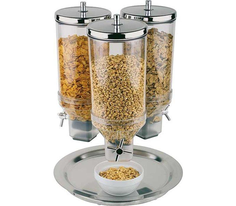 APS FSE Cereal Dispenser | Rotation | RVS Draaibare Voet | Inhoud 3x4,5 Liter | Ø380 mm, Hoogte 540mm