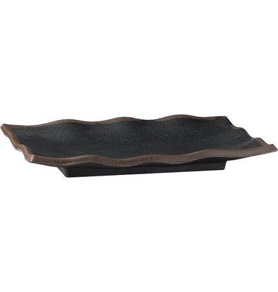 APS Schaal - MARONE - Melamine Zwart - met Bruine Rand - 225x150x(h)30 mm