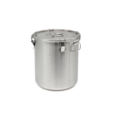 Thermosteel Thermostal Suppenbehälter | 30 Liter Seitliche Griffe Doppelwandiger Edelstahl AISI 304 | Stapelbar Ø36cm x (h) 40cm