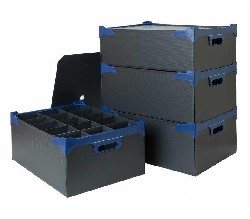 Bar Professional Box voor 15 glazen  | 500x345x200mm | 5 stuks | Zwart