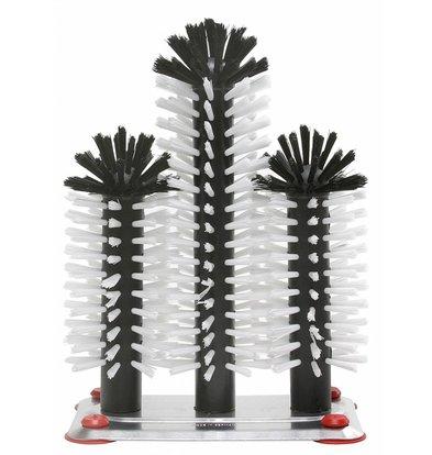 Bar Professional Spoelborstel aluminium voet 3-delig - 18x25x18cm