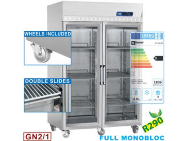 Diamond Gastro Line PLUS Kühlschrank | Entlüftet 1400 Liter 2 Glastüren Auf Rädern 1440x850x (H) 2070mm