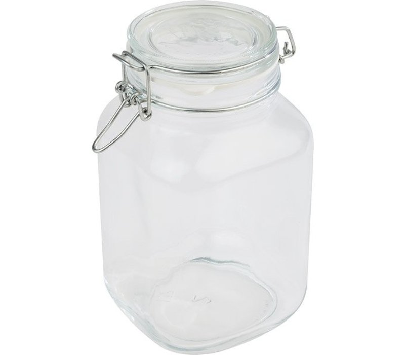 APS FSE Voorraadpot Glas | 2 Liter | Luchtdichte Deksel | 12x12x(H)22cm
