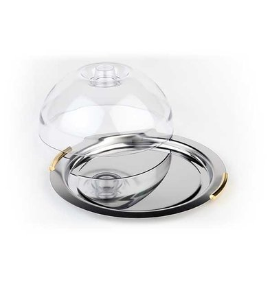 APS FSE Cheese Bowl | 'Finesse' around | Stainless Steel | Gilt Handles | ca. Ø 220mm