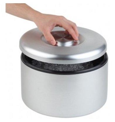 APS IJsbox Maxi   Aluminium, mat Gepolijst   Met Drip Rooster   Ø27x(H)20cm