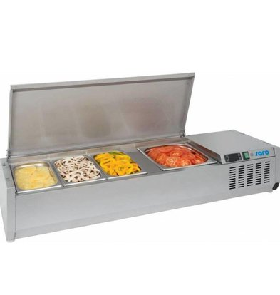 Saro Set-up refrigerator vitrine | 6x GN1 / 3 | Stainless steel lid | 1400x395x280 (h) mm