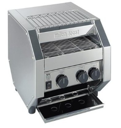 MilanToast Edelstahl-Förderband Toaster | Einstellbares Förderband 1700 Watt 410x340x (H) 410mm