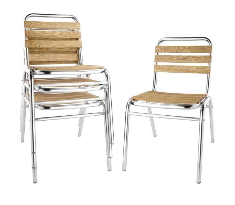 Bolero Stapelbar Aluminium Stuhl mit Eschenholz Sitz und Rücken - Preis für 4 Stück