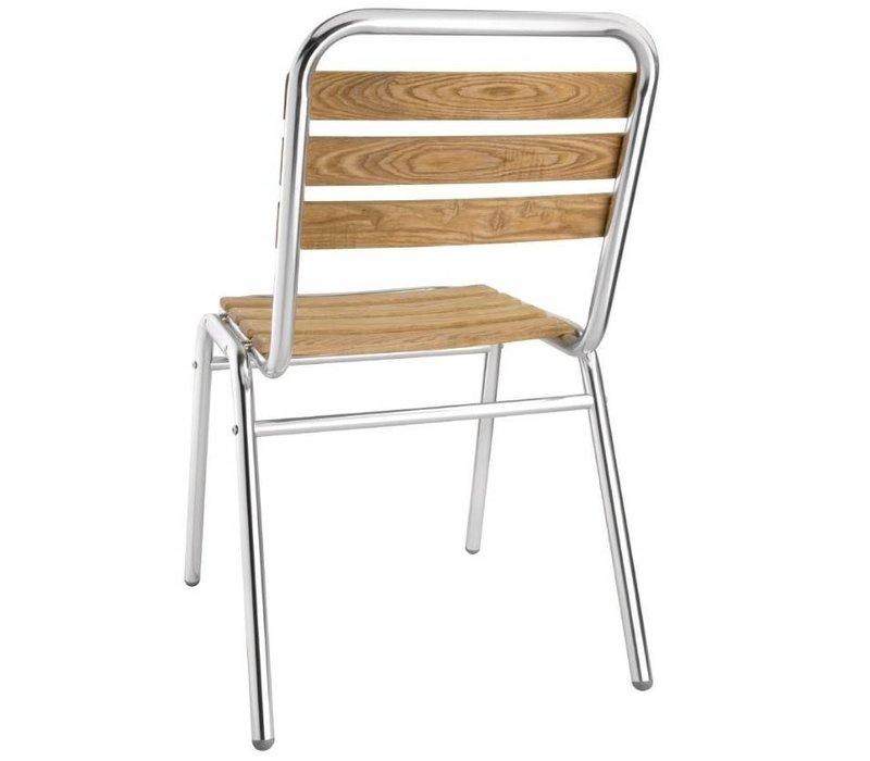 Bolero Stoel Stapelbaar Aluminium met Essen houten zitvlak en rug - Prijs per 4 stuks
