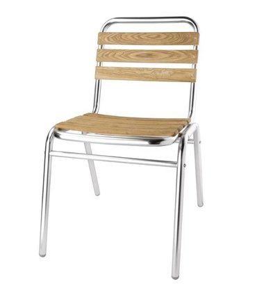 Bolero Stackable Aluminium Chair with ash wood seat and back - Price per 4 pieces