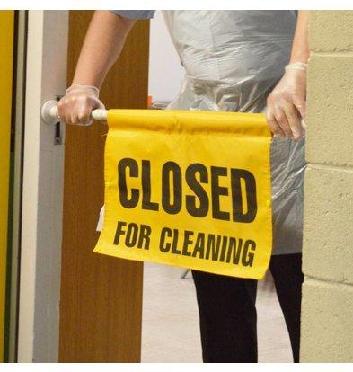 SYR Gesloten wegens Reinigingswerkzaamheden Bord | Universeel model tussen de Deur | Per 4 Stuks