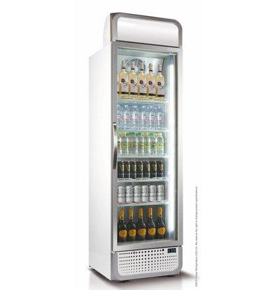Husky Horeca Koelkast Glasdeur | 485 Liter | Wit/Zilver | LED Verlichting | 650x719x1985(h)mm