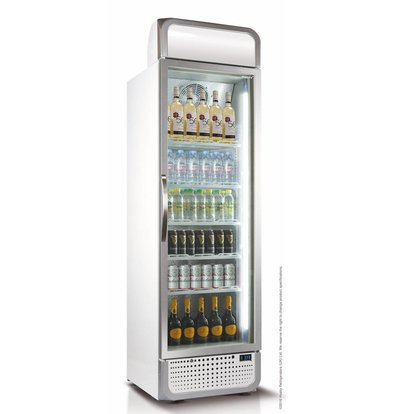 Husky Horeca Refrigerator Glass door 485 liters White / Silver | LED lighting 650x719x1985 (h) mm