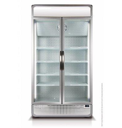 Husky Kühlschrank Doppelglastür | 975 Liter Silber | LED-Beleuchtung 1200x719x1985 (h) mm