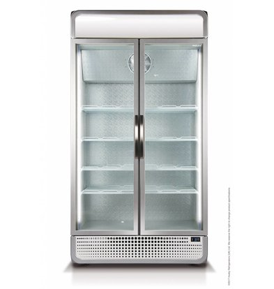 Husky Refrigerator Double Glass Door | 975 liters Silver | LED lighting 1200x719x1985 (h) mm