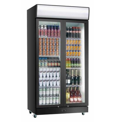 Exquisit Display Fridge Black PVC | Folding doors | 1000 liters | 1200x690x2000 (h) mm
