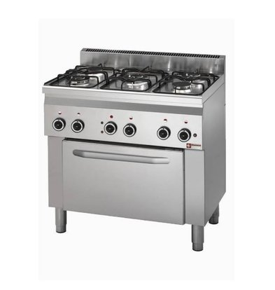 Diamond Stove 5 burners + Electric Oven   230V   With lighting   900x600x (H) 900mm
