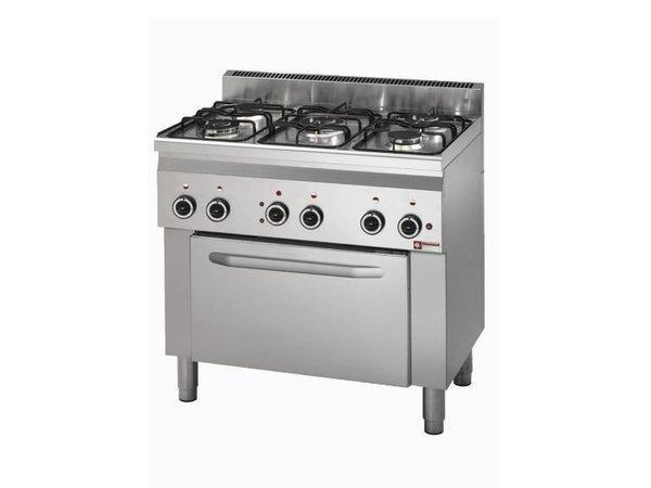 Diamond Gasfornuis 5 Branders + Elektrische Oven | 230V | Met Binnenverlichting | 900x600x(H)900mm