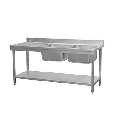 Combisteel RVS Spoeltafel met Bodemschap | Demontabel Model | 2 Spoelbakken Rechts | 1800x700x(H)850mm
