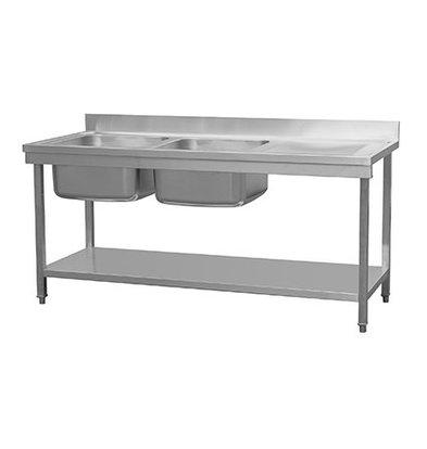 Combisteel RVS Spoeltafel met Bodemschap | Demontabel Model | 2 Spoelbakken Links | 1800x700x(H)850mm