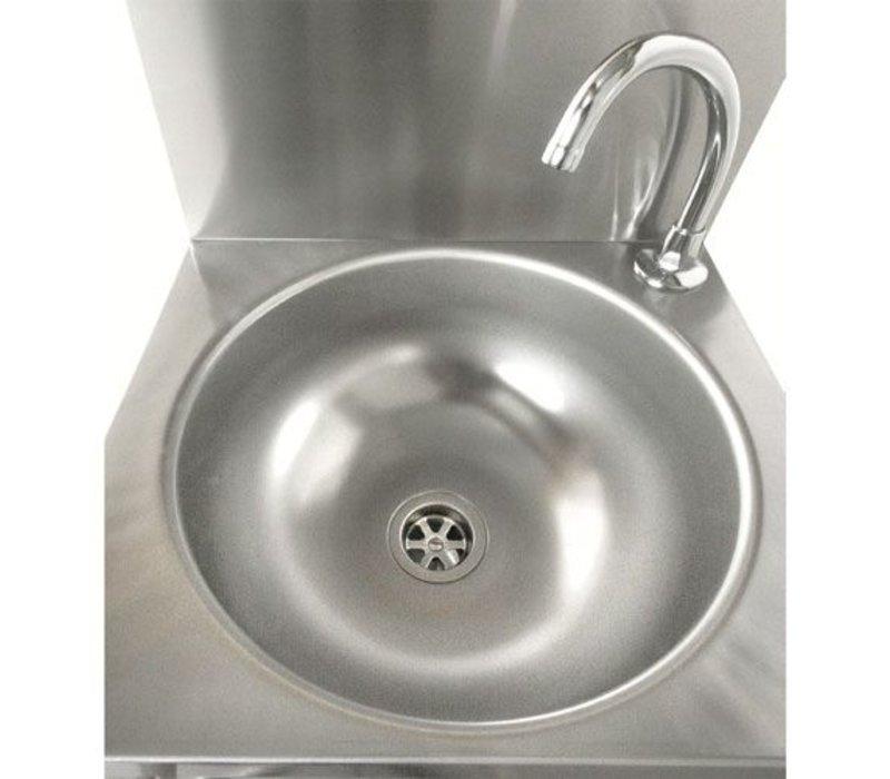 Sofinor RVS Wasbak   Kniebediening   zonder Voormengkraan   + Zeep Dispenser   384x353x(H)524mm