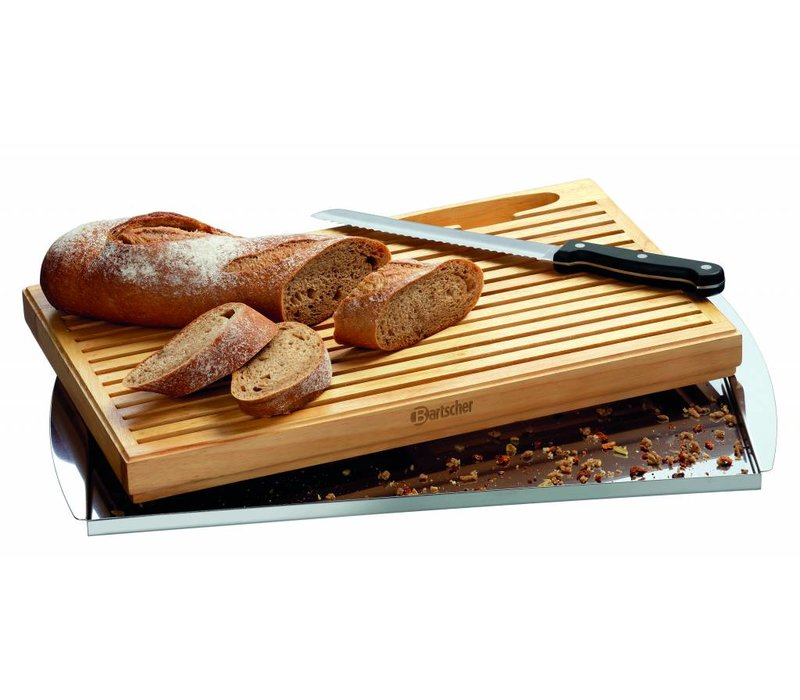 Bartscher Broodsnijplank KSE475 | met Kruimel opvangbak + Broodmes | 475x260x(H)40mm
