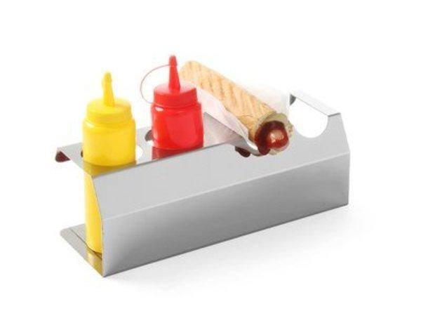 Hendi Hotdog standaard RVS - 2 Broodjes En Twee Flacons 0,70 ml