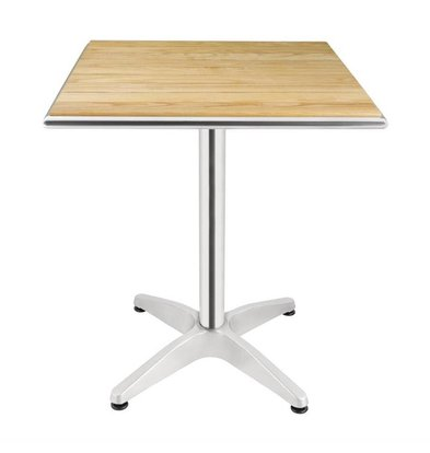 Bolero Square Bistro Table - Aluminum frame - with ash Tabletop - 72 (h) x60x60cm