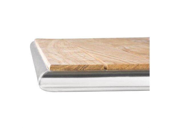 Bolero Vierkante Bistrotafel - Frame Aluminium - met Essen Hout Bovenblad - 72(h)x60x60cm