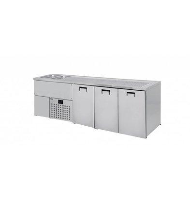 Combisteel Beer cooler 3 Doors | Double Sink (300x500mm) Left | 1950x700x (H) 960mm