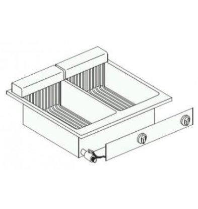 Combisteel Elektrische Friteuse   Drop In   2x 10 Liter   14,5 kW   met Aftapkraan   600x600x(H)356mm