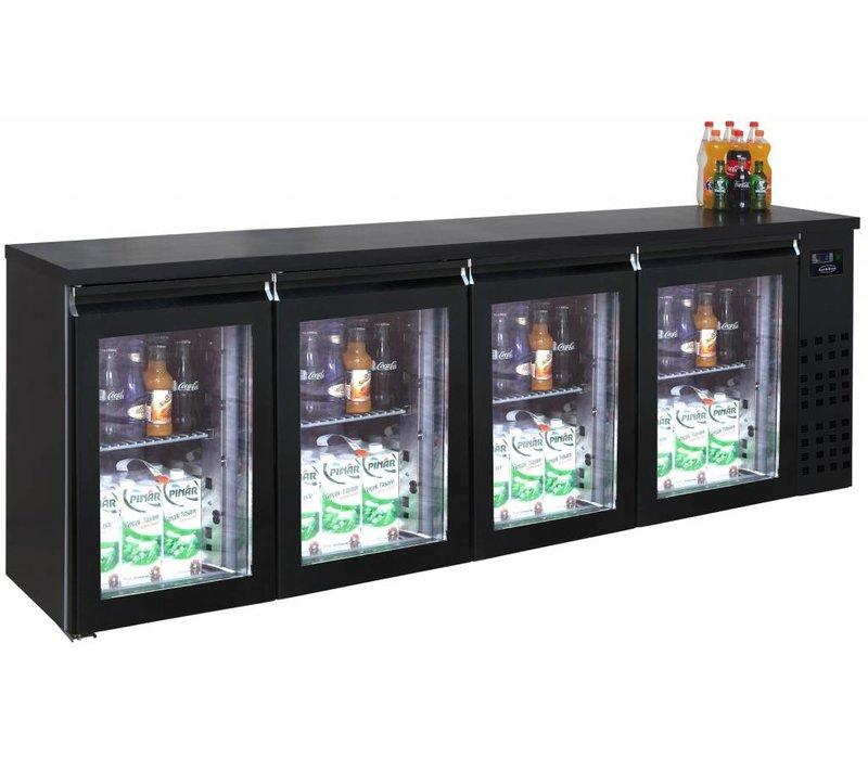 Combisteel Barkoelkast Zwart | 4 Glazen Deuren | 680 Liter | 2490x550x(H)950mm