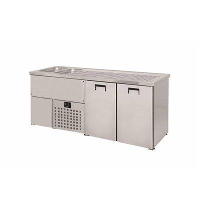 Combisteel Beer cooler 2 Doors | Double Sink (300x500mm) Left | 1950x700x (H) 960mm