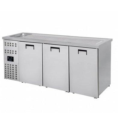 Combisteel Beer cooler 3 Doors | Sink (300x500mm) Left | 2100x700x (H) 960mm