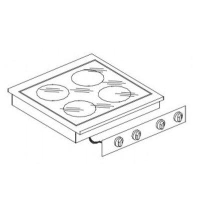 Combisteel Keramische Kookunit | Drop in | 4 zones | 8,2 kW | 600x600x(H)260mm