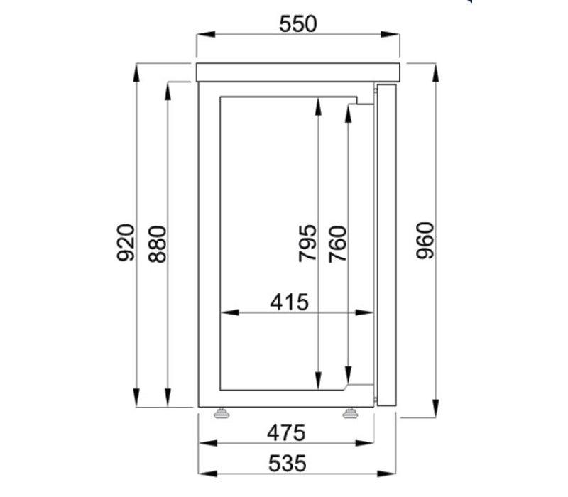 Combisteel Barkoelkast Zwart | 2 Blinde Deuren | 320 Liter | 1380x550x(H)950mm